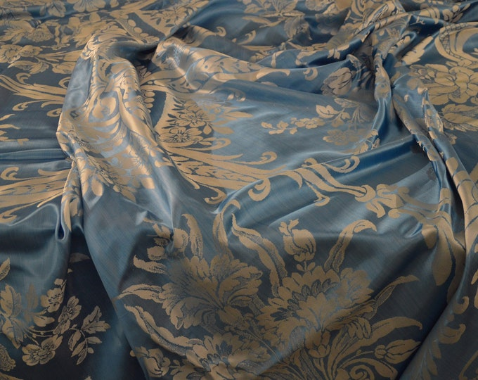 Antique sky blue silk bedspread made in Italy