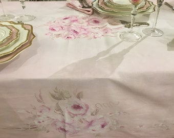 "Hand painted Tablecloth ""fresco ROSE"""