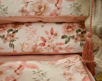 """Double bed suit in pure cotton percale """"Ancient roses"""""""