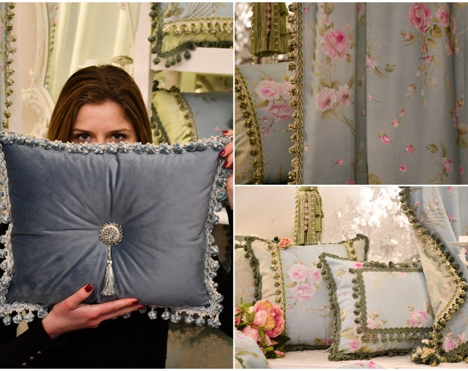 "Painted rose flower cushion, Damascus, velvet, trimmings and flakes collection ""BRIDGERTON"""