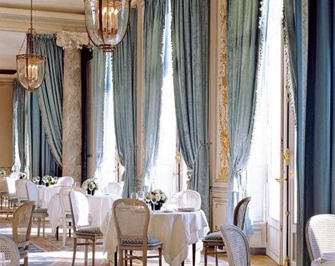 "Pair of velvet curtains light blue powder intense with precious trimmings Made in Italy ""Aristocratic"""