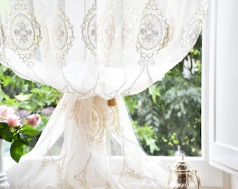 """Embroidered tent """"Marie Antoinette"""" ivory collection """"precious curtains"""""""