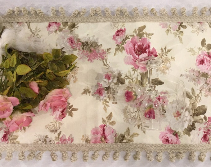 "Runner ""Flower chic"" ivory"
