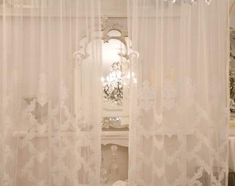 "Embroidered tulle curtain ""Elisabeth"""