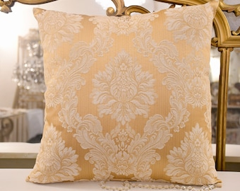 Italian luxury damask gold cushion