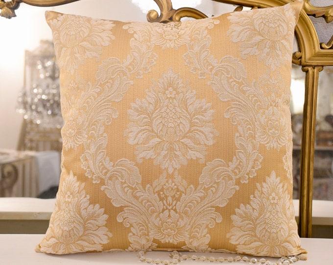 Italian luxury damask gold cushion