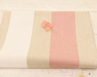 "Pink and beige striped fabric ""toile de jour collection"""