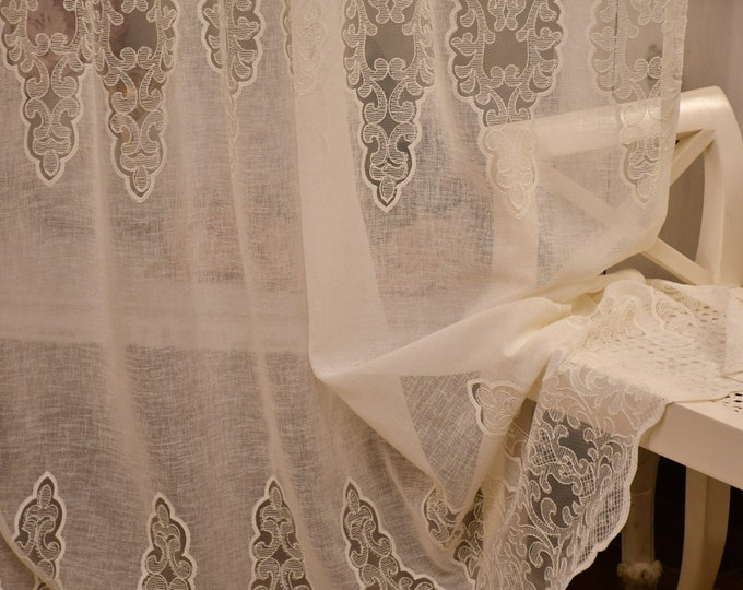 Linen mixed curtain and ivory embroidery