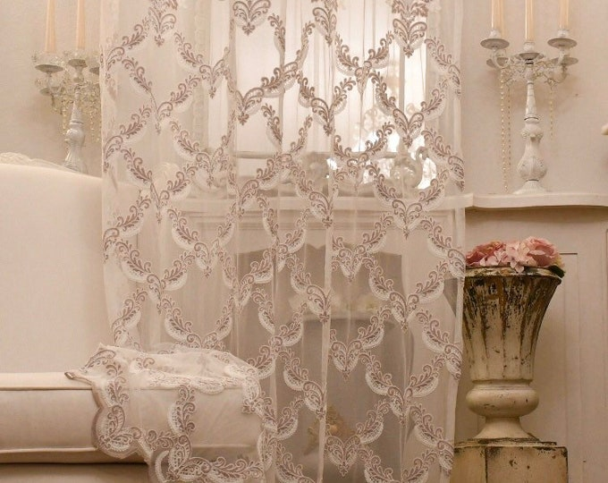 """""""Elisabeth"""" pink embroidered tulle curtain"""
