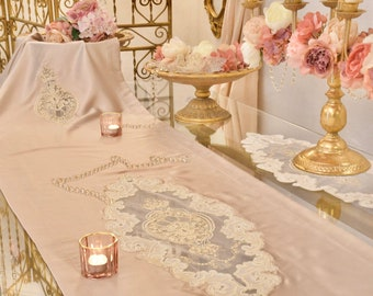Runner luxury silk satin and fine lace