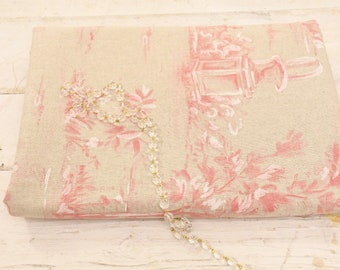 "Fabric pink landscapes ""toile de jouy collection"""