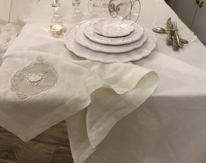 """Pure white linen tablecloth with tulle inserts embroidered collection """"MARIACAROLINA"""""""