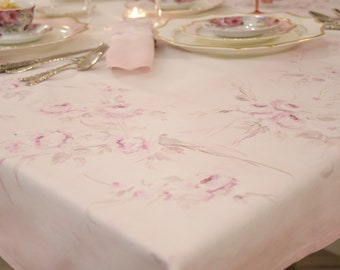 """Hand-painted tablecloth """"Rose Roses"""""""