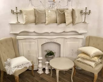 Pillows in Italian shabby ivory and grey cream velvet