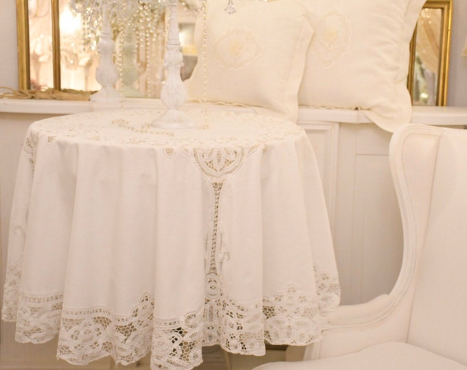 Ancient 20th-century tablecloth, round white embroidered