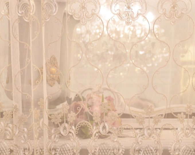 """Embroidered tulle tent """"Maria Regina"""" collection precious curtains"""