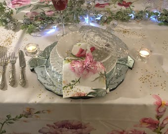 Set napkins with Rose flowers, peonies, camellias, and Lilacs.