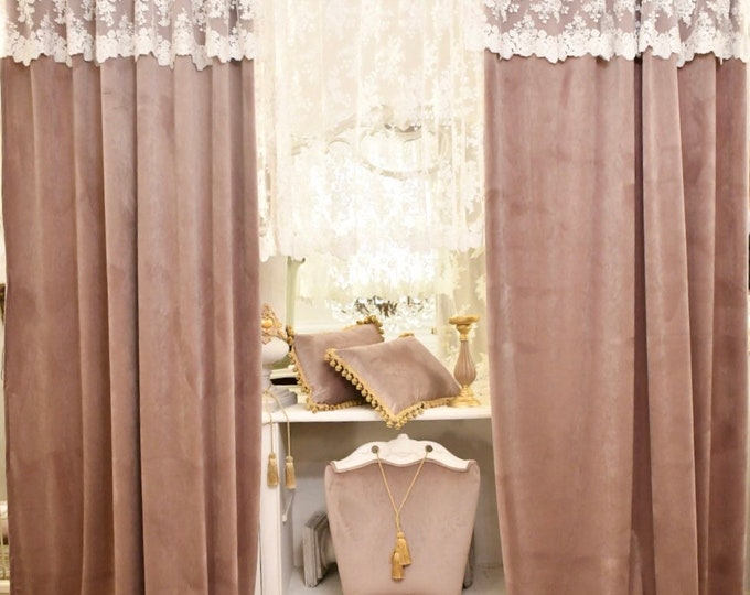 "Complete velvet and lace curtains ""Renaissance"""