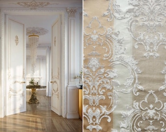Damascus fabric luxury beige Ivory cream