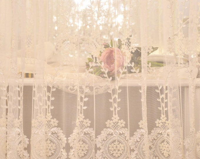 Wonderful, unique embroidered lace curtain towel