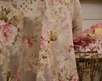Floral organza devoré fabric