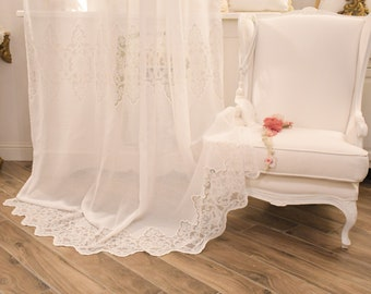 Pure linen curtain and embroidered white
