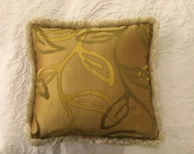 Luxury gold silk pillow made in Italy