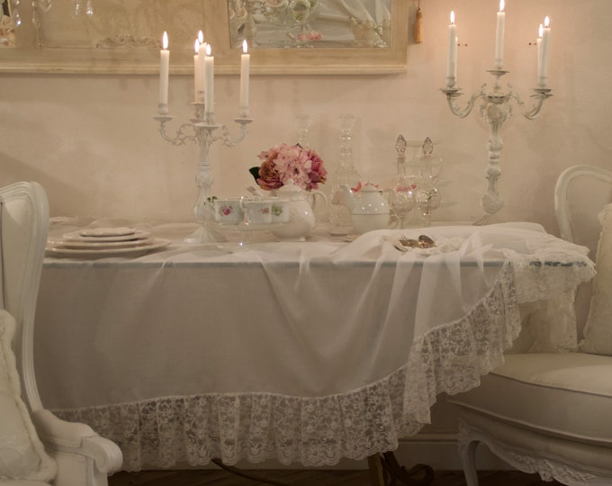 Cotton tablecloth and ruffles lace total white Italian jewel