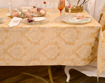 luxury damascus gold tablecloth