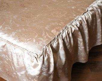 Ancient bronze gold 20th century silk bedspread
