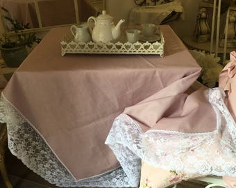 Linen tablecloth pink resin and fine lace