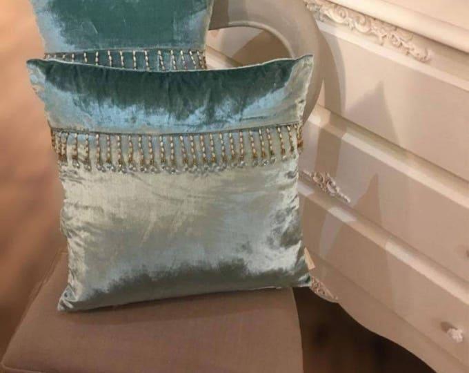 Luxury Victorian Blue Velvet Pillow