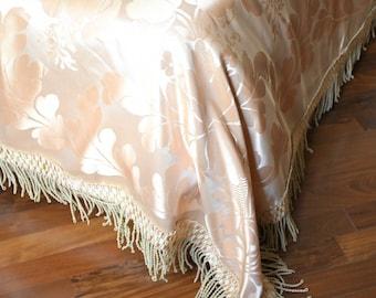 Antique antique pink silk bedspread