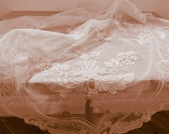 Tablecloths in tulle embroidered with handmade beaded vintage style