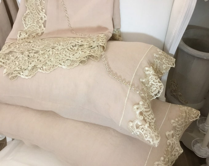"Complete bed pure pink linen and fine lace collection ""MARIACAROLINA"""