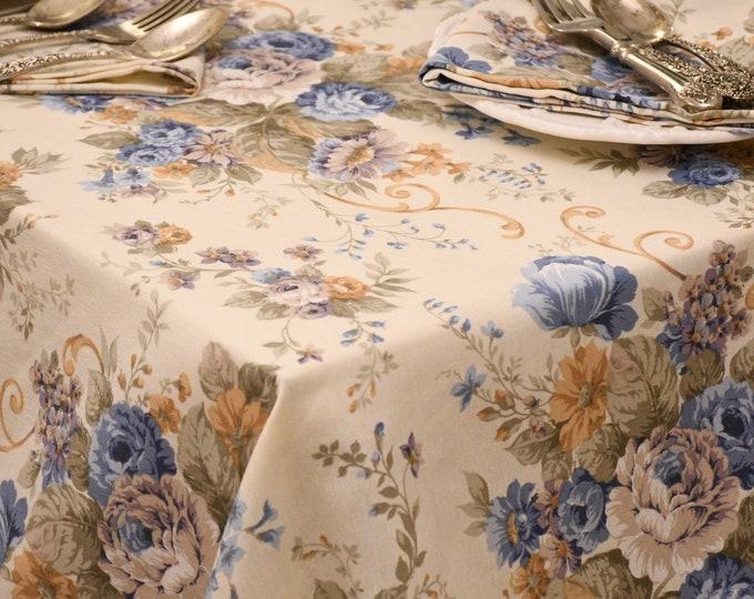 Vintage blue rose tablecloth