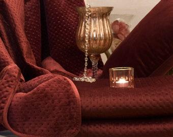Blanket,plaid ,quilt in burgundy velvet