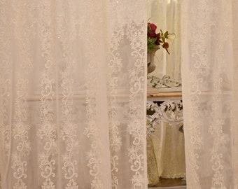 "Embroidered curtain ""Mariacarol"" ivory"