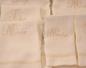 Pure Linen towel set and ivory embroidery