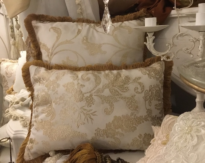 Pillow Set with gold and ivory trimmings
