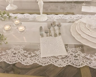 "White lace Cutlery Holder ""Elisabetta Collection"""