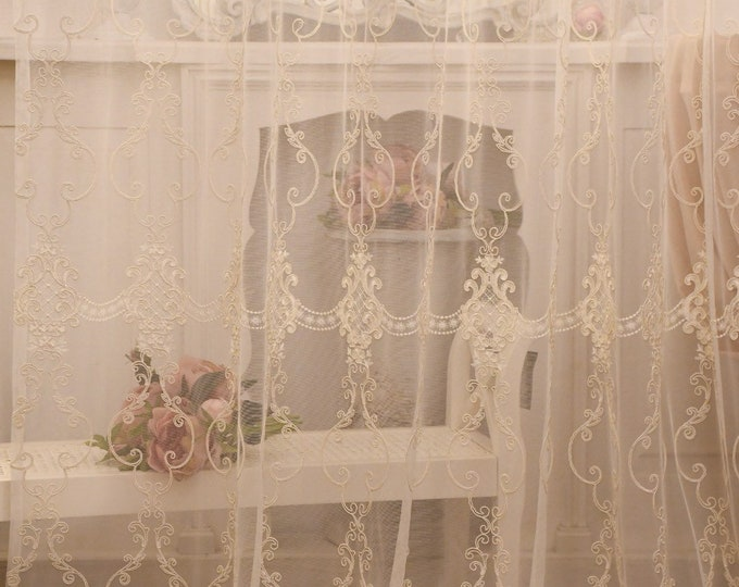"""Fabric for embroidered curtains """"MariaCristina"""" collection """"precious curtains"""""""
