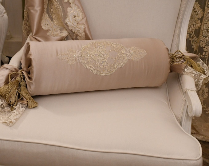 Luxury cylindrical cushion satin in champagne silk and fine lace