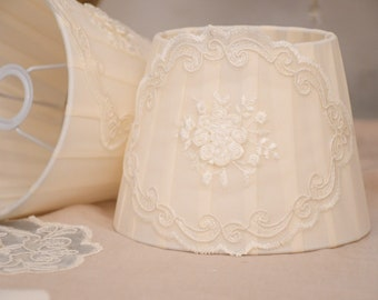 Romantic silk and ivory lace lampshade
