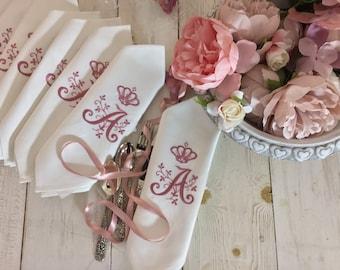 Napkins with pink monogram and Corona set of 6