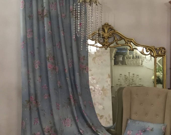 Painted rose blue curtain
