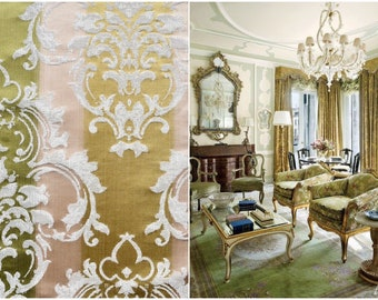Damascus fabric luxury green ivory