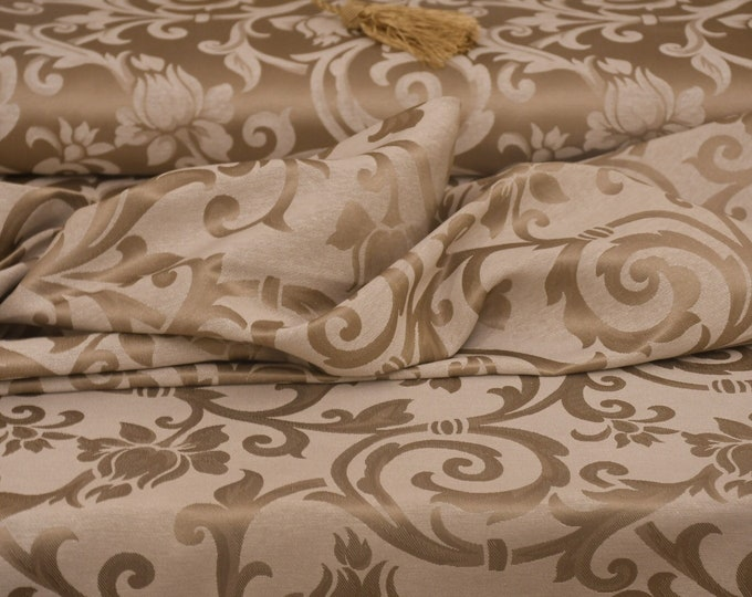 Luxury bronze/ivory jacquard fabric