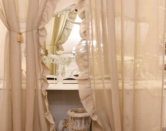 Pair of cotton gauze curtains with voilant