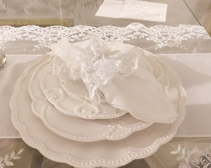 "White lace napkin Ring ""Elisabetta Collection"" (Set of 6)"